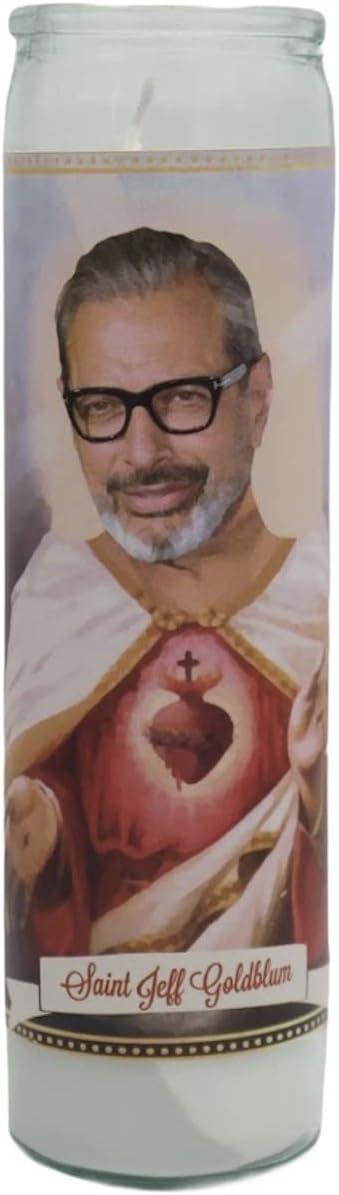 100/% Handmade in USA Jeff Goldblum Celebrity Prayer Candle Novelty Celebrity Gift Funny Saint Candle 8 inch Glass Prayer Votive