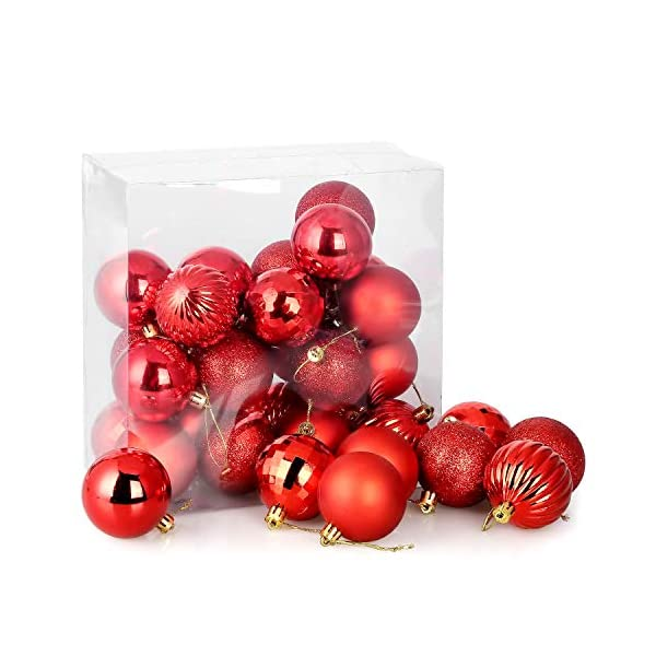 Kranich 32 Palla Rossa per Albero di Natale, infrangibile, Molto Adatta per Decorazioni Natalizie, Decorazioni sospese, Feste, Matrimoni, Feste (5 Finiture, 60mm) 2 spesavip
