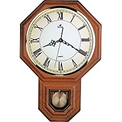 Traditional Schoolhouse Roman Pendulum Wall Clock Chimes Hourly with Westminster Melody Made in Taiwan (PP0258-R-LW Light Wood Grain)