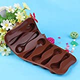 6 pcs Silicone Baking Mould Spoon Design Chocolate Cake Biscuit Candy Jelly Mold Decor Bakery Tool