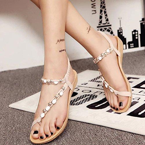 Chaussure Été Sandale Perlée Youjia Sandales Femme Strass Casual Tong Beige Plates Plage qz0wROq