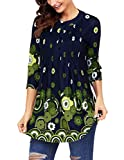 Ray-JrMALL Womens Holiday Tops Long Sleeve Green Blouse Floral Tunic XL