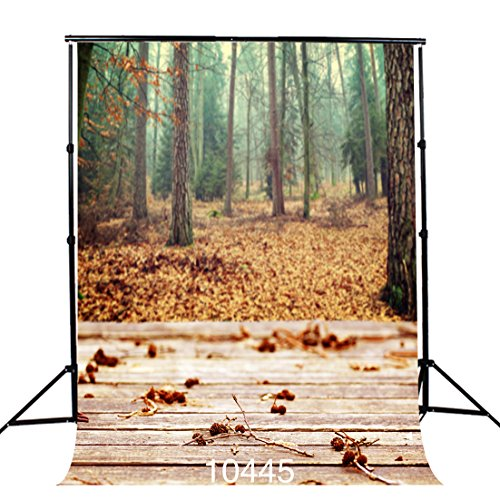 SJOLOON 5X7ft Wooden Floor Fall Forest Natural Landscape Vinyl Photography Backgrounds Photo Backdrops Studio Props 10445 (Landscape Backdrops)