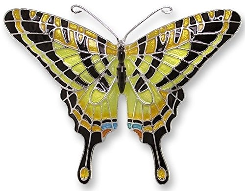 Enameled Silver Pin (Swallowtail Butterfly Enameled Silver Plated Pin)