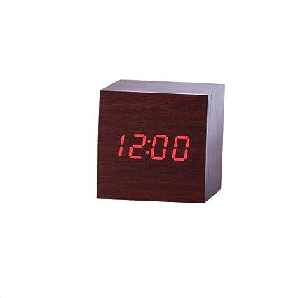 New Modern Wooden Wood Digital LED Desk Alarm Clock Thermometer Timer Calendar