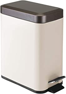 mDesign 1.3 Gallon Rectangular Small Steel Step Trash Can Wastebasket, Garbage Container Bin for Bathroom, Powder Room, Bedroom, Kitchen, Craft Room, Office - Removable Liner Bucket - Vanilla/Bronze