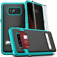 Samsung Galaxy S8 Case, Phase Series by CLICK CASE w/[Samsung Galaxy S8 Screen Protector] Hidden Wallet Back [Slim Fit Cover] Kickstand- S8