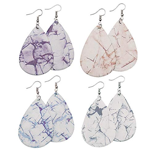 Marble Faux Leather - Marble Earrings Lightweight Faux Leather Teardrop Earrings Handmade DIY Dangle Earrings for Women 4 Pairs