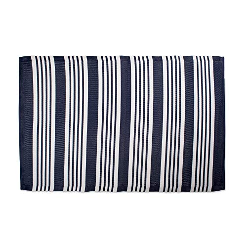 Blue White Rv Outdoor Rug for Camping Large Striped Pattern Floor Mat Reversible Nautical Navy Blue Multi Stripe Lightweight, Polypropylene