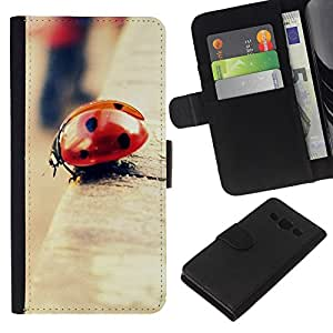 YiPhone /// Tirón de la caja Cartera de cuero con ranuras para tarjetas - Mariquita Bokeh - Samsung Galaxy A3