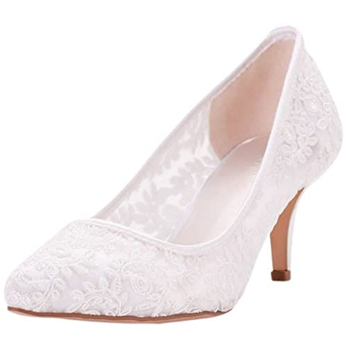 8f2b3aa65b28c0 David's Bridal Embroidered Mesh Pointed-Toe Pumps Style HURLEY09, White, ...