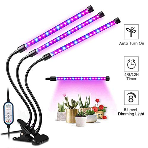 Plant Grow Light, 3-Head LED Growing Lamp Kit with Two-Way Timer and 54 Red/Blue Spectrum Bulbs, 8 Dimmable Levels, 4/8/12H Memory Cycle Timing, Auto ON & Off Every Day for Indoor Plants and Gardening