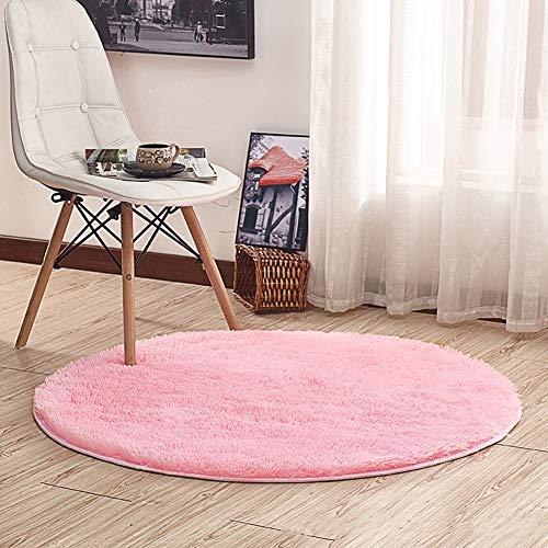 Noahas 4-Feet Luxury Round Area Rugs Super Soft Living Room Bedroom Carpet Woman Yoga Mat, Pink