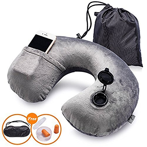 aa7b747f91a827 Soft Neck Support U Shape Inflating Neck Pillow with Eye Mask