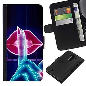 For LG G3 Case , Sign Kiss Lips Shush Sensual Red - la tarjeta de Crédito Slots PU Funda de cuero Monedero caso cubierta de piel