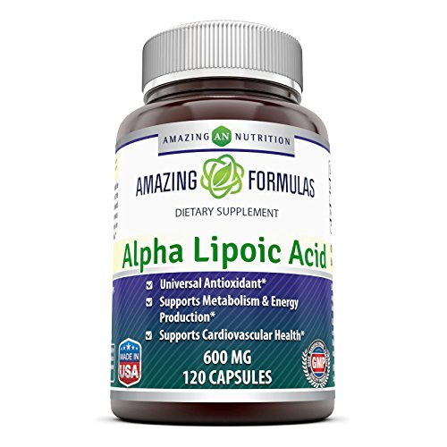 Amazing Formulas Alpha Lipoic Acid * 600mg 120 Capsules Per Bottle * Pure ALA Capsules - Ideal Formulas Supplement for healthy weight management, Athletic Performance & (Alpha Lipoic Acid)