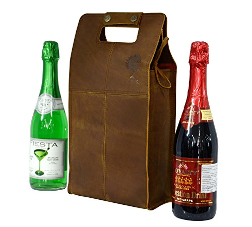 Double Wine Bottle Carrier Bag Leather Bottle Holder Tote Reusable Gift Bag Champagne Case, Valentines Gift Bag