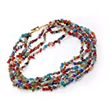 pricegems Cobalt Blue Green Red Millefiori Murano Glass Bracelet Earrings and Toggle Necklace 'Colors Of The Sea'