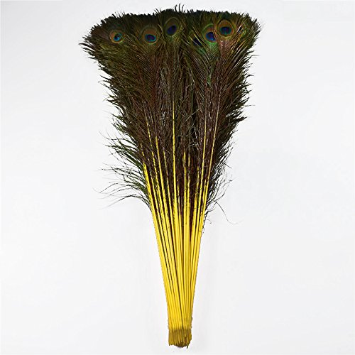 100pcs 100% Natural Peacock Feathers Dyed Yellow 70-80CM/28-32inch for DIY Costume mask -