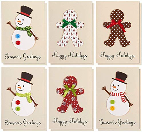 Set of 12 Merry Christmas Greetings Cards Set - Happy Holidays and Season's Handmade Xmas Cards in 6 Snowman and Gingerbread Man Themes, Includes White V-Flap Envelopes, 5 x 7 Inches