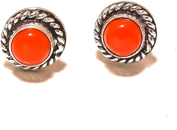 Red Coral Sterling Silver Overlay 4 Grams Stud//Earring 10 mm Designer Jewelry