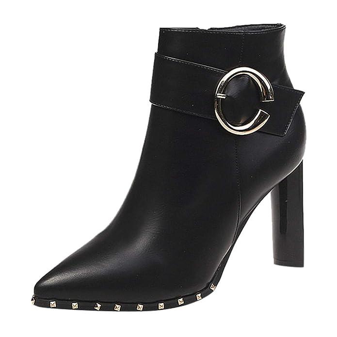 Pwtchenty Botines Cortos Botas Altas De Mujer Tacon Moda para Zapatos Tacones Altos Remaches Puntiagudos Cortas Punta Estrecha