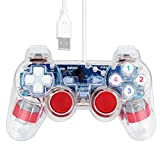 SQDeal USB Dual Shock Joystick Gamepad Gaming Controller [Double Vibration Feedback Motors] for PC Computer Laptop Window (Clear Red)