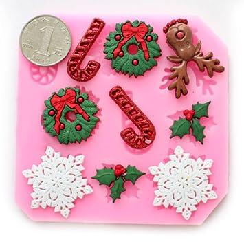 Wholeport molde de flor de nieve Navidad molde fondant molde Candy molde decoración de pasteles mold: Amazon.es: Hogar