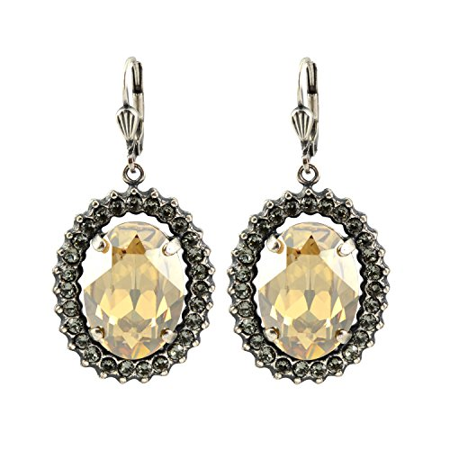 La Vie Parisienne Silver Plated Oval Portrait Dangle Earrings with Swarovski Crystal