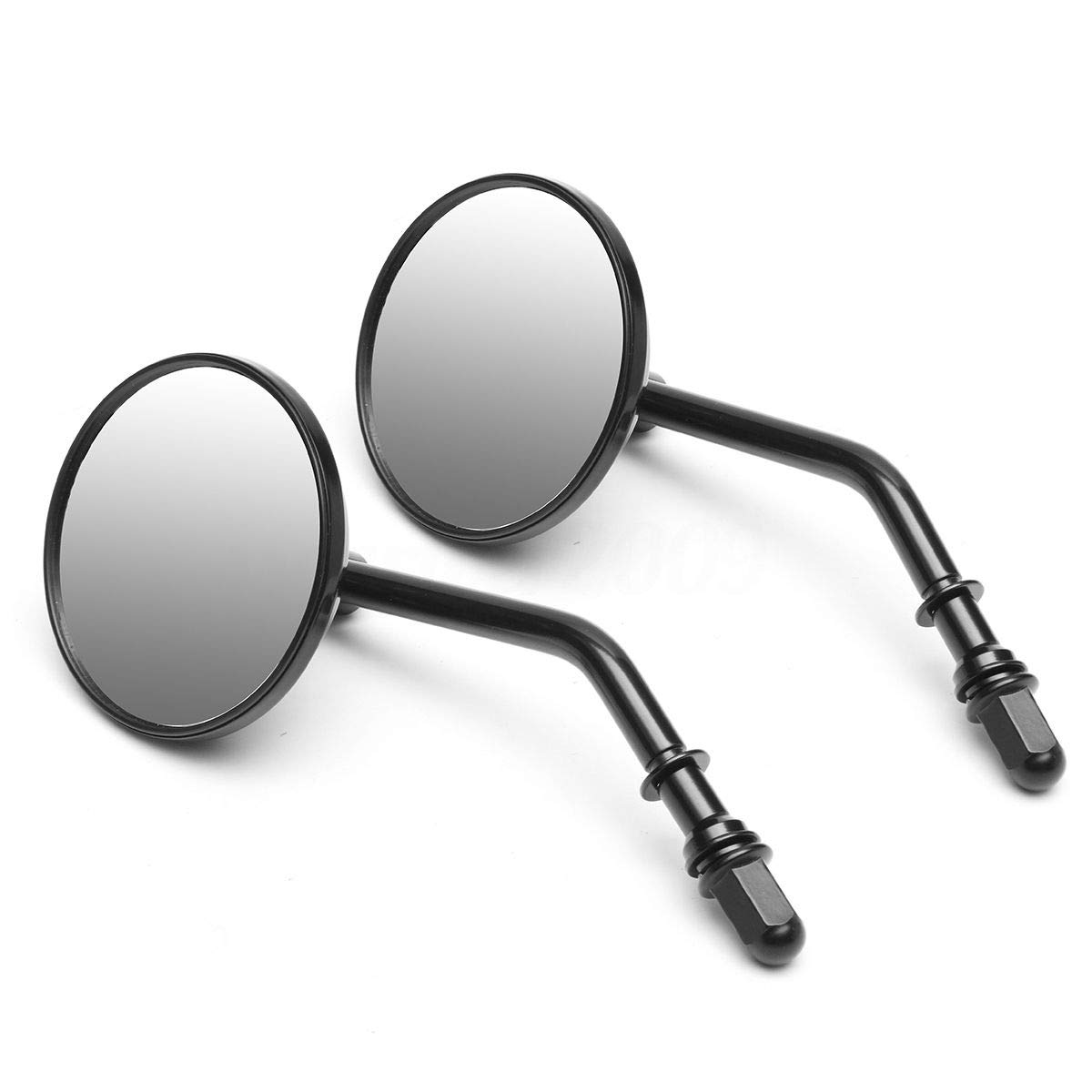 CHELIYA 1 Pair 8mm 3' Classic Retro Motorcycle Rearview Round Mirror for Harley Davidson Sportster Softail Road