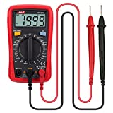 UT33C+ LCD Digital Multimeter By LEANINGTECH Handheld Multitesters, Auto Range AC/DC Voltage DC Current Resistance Temperature Diode Tester Meter, with Battery