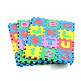 Ghazzi Mini 36Pcs Alphabet Numeral Foam Mat Education Toys Developmental Intelligence Toy for Kids Puzzle Educational Learning Toy Growing Experiment Gift Toy Pretend Toy Toddlers Toy (Multicolor)