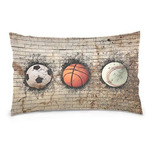 ALAZA 3D Basketball Baseball and Soccer Ball Embedded in Brick Wall Cotton Lint Pillow Case,Double-sided Printing Home Decor Pillowcase Size 16''x24'',for Bedroom Women Girl Boy by ALAZA