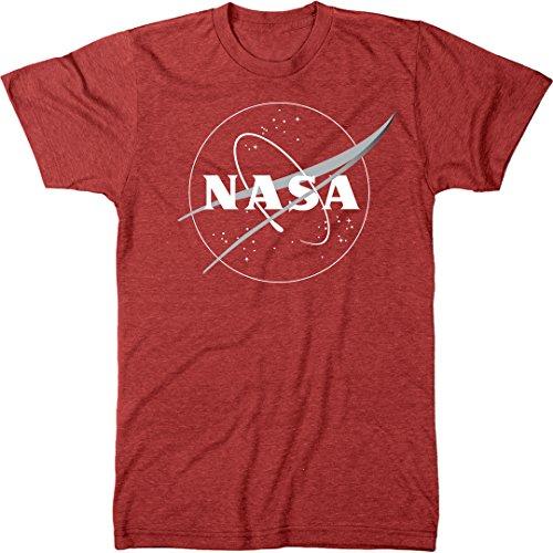 NASA Meatball Logo White Outline Men's Modern Fit Tri-Blend T-Shirt (Vintage Red, Medium)