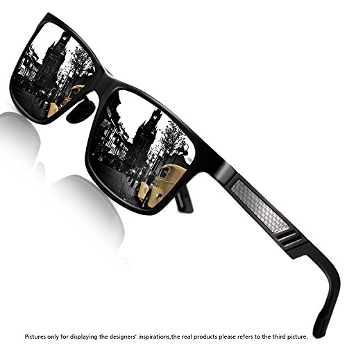 ROCKNIGHT Polarized UV Protection Men's Sunglasses Wayfarer Full Frame Black-grey Flat Mirror Lens outdoor Fashion - Sunglasses Vivid