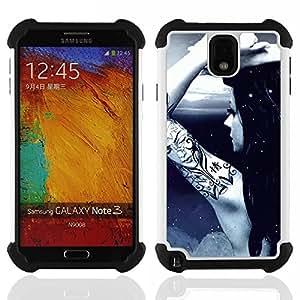 - Cool Awsome Tattoo Girl/ H??brido 3in1 Deluxe Impreso duro Soft Alto Impacto caja de la armadura Defender - SHIMIN CAO - For Samsung Galaxy Note3 N9000 N9008V N9009