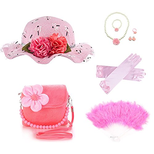 GILAND Girls Tea Party Set Dress Up Play with Sunhat,Handbag,Fans,jewelry (Light pink) by GILAND