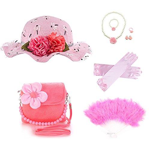 GILAND Girls Tea Party Set Dress Up Play with Sunhat,Handbag,Fans,jewelry (Light pink) -