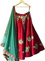 ShreeBalaji Collection Silk Lehenga Choli (OrangePrinted2_Mul_Free Size )