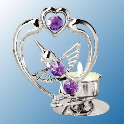 Chrome Plated Hummingbird In Heart Tea-Light..... With Purple Swarovski Austrian (Bright Austrian Crystals)