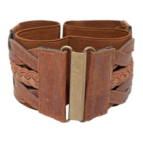 - eVogues Plus Size Braided Elastic Stretchy Retro Wide Waist Cinch Belt Brown - One Size Plus
