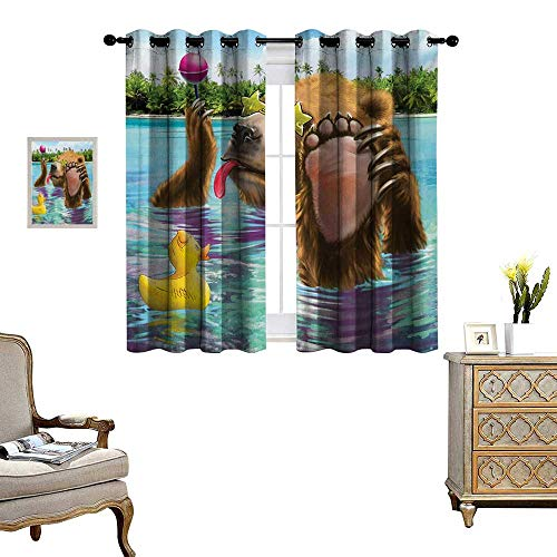 Animal Patterned Drape for Glass Door Happy Fancy Wild Bear in The Sea by The Beach with its Sunglasses Candies Print Waterproof Window Curtain W72 x L63 Multicolor (Rooster Glass Candy)