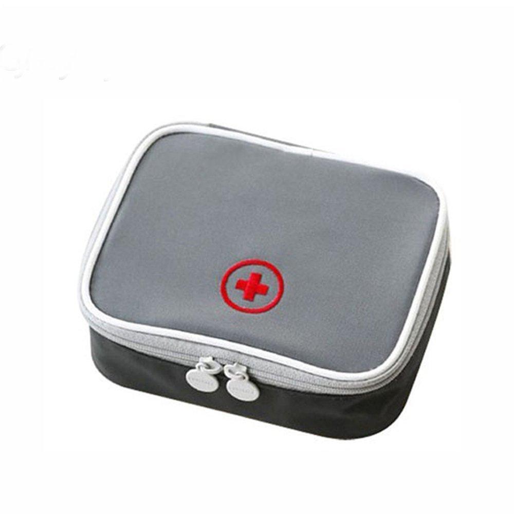 Mini Outdoor First Aid Kit Bag Travel Portable Medicine Package Emergency Kit Bags Medicine Storage Organizer Bag (Grey)