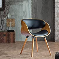 Corvus Walnut and Black Mid Century Bentwood Accent Chair
