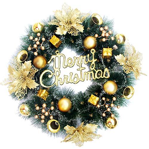 Pinecone 3 Wide Light (Cyhulu Christmas Artificial Wreath Door Hanging Ornaments, 16 Inch Christmas Garland Door Wall Hanging Wreath with Plastic Golden Flowers,Berries,Bells,Pine Cones,Balls,Gift Bag Set)