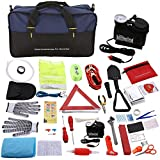Auto Car Emergency Kit and First Aid Kit with Jumper Cables and Air Compressor for Car Truck, 99-in-1 Roadside Safety Kits - Safety Hammer, 10ft Tow Rope, Folding Military Shovel, Tire Pressure Gauges