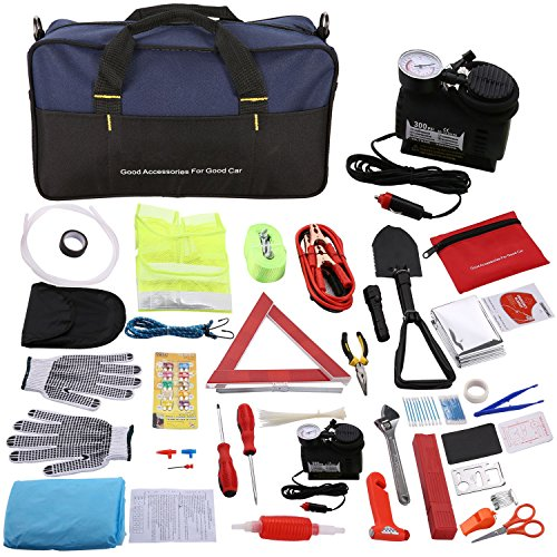 - Auto Car Emergency Kit and First Aid Kit with Jumper Cables and Air Compressor for Car Truck, 99-in-1 Roadside Safety Kits - Safety Hammer, 10ft Tow Rope, Folding Military Shovel, Tire Pressure Gauges