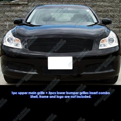(APS Compatible with 07-08 Infiniti G35 Sedan Black Billet Grille Grill Combo Insert N19-H00118N)