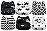 #9: Mama Koala One Size Baby Washable Reusable Pocket Cloth Diapers, 6 Pack with 6 One Size Microfiber Inserts (Black & White)