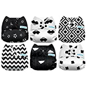 Mama Koala One Size Baby Washable Reusable Pocket Cloth Diapers, 6 Pack with 6 One Size Microfiber Inserts (Sea Adventure)